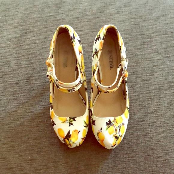 39b37117381 ‼️Lowest Price‼️ JustFab Lemon Rayna Heels! 🍋